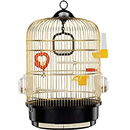 Birdhouses Birdcage Oversized Parrot Stainless Steel Pet House Parakeet Bird Cages Canaries Lovebirds Indoor Outdoor Hook Suspension Large Bird Cage (Color : Yellow+Black, Size : 42.5 * 49cm) Xping