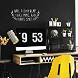 Vinyl Wall Art Decal - Have A Kind Heart Fierce Mind and Brave Spirit - 10' x 25' - Motivational Quote for Home Bedroom Living Room Apartment School Classroom Decoration Sticker (White)