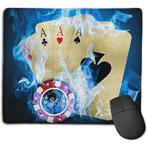 rutschfeste Mousepad Persönlichkeits-Desings-Spiel-Mausunterlage Blaue Feuer-As-Karten