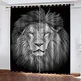 MXYHDZ Cortinas Opacas de Salon - Animal león Gris Impresión 3D, Dormitorio Aislantes Termicas con Ollaos - 200 x 160 cm para Oficina y salón, Dormitorio habitación de los niños, 2 Piezas
