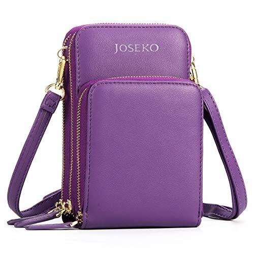 Borsa a Tracolla, JOSEKO Portafoglio Donna Borsa a Tracolla per Cellulare con Tracolla in PU Multi-slot in Pelle Crossbody Della Borsa Rose Purple