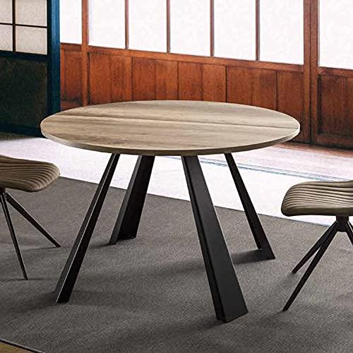 Mesa redonda extensible 220 cm, color madera satinada.