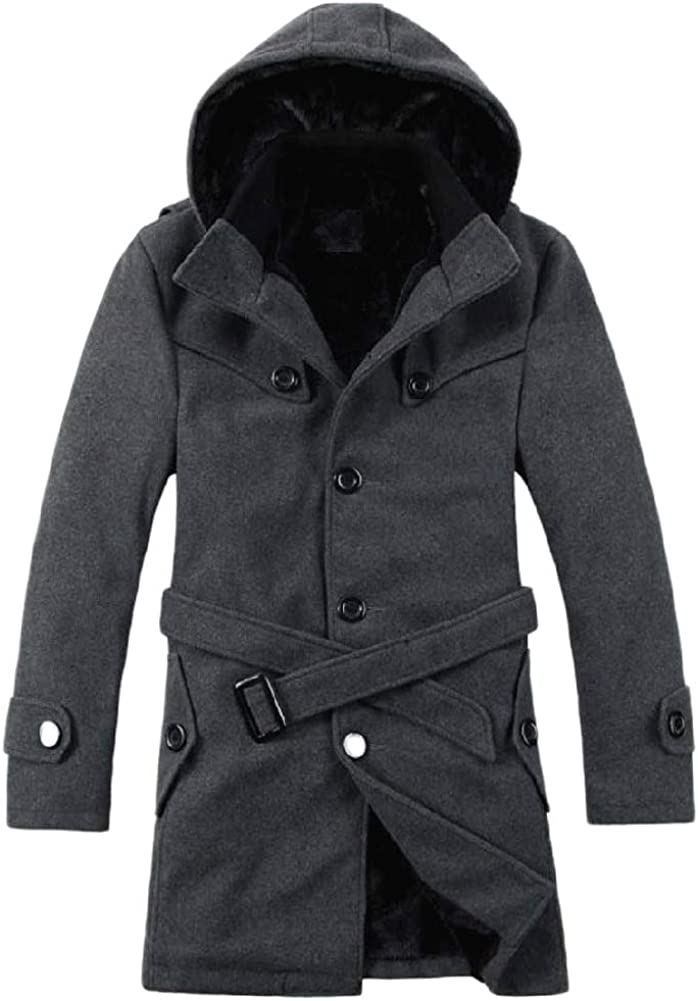 AOWOFS Men's Winter Thicken Hooded Overcoat Fur Lined Fashion Casual Slim Pea Coats
