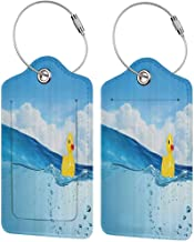 Durable luggage tag Rubber Duck Little Duckling Toy Swimming in Pond Pool Sea Sunny Day Floating on Water Print Unisex Blue Yellow W2.7