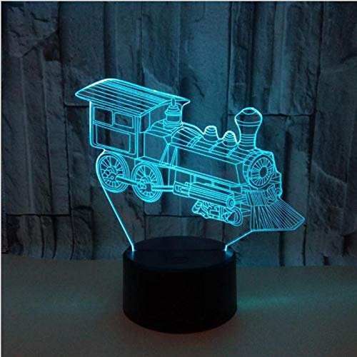 Dibujos animados Vintage Old Steam Train led Lámpara de mesa 3D LED luz de noche dormitorio crack decoración de navidad Boy Toy Kids gift