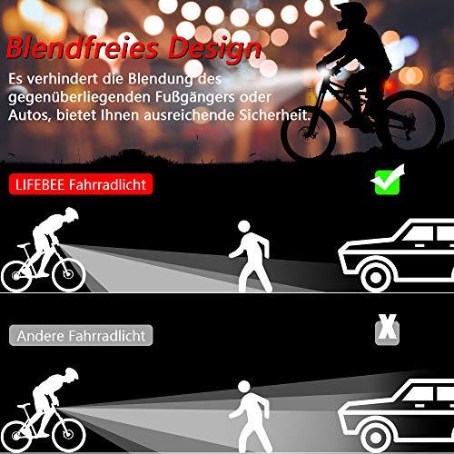 LIFEBEE LED Fahrradlicht, Batterie Fahrradbeleuchtung Fahrradlampe Fahrradlicht Vorne Rücklicht Set, Wasserdicht Batterieleuchtenset für Fahrrad, 2 Lichtmodi, Batterie Nicht inklusive - 3