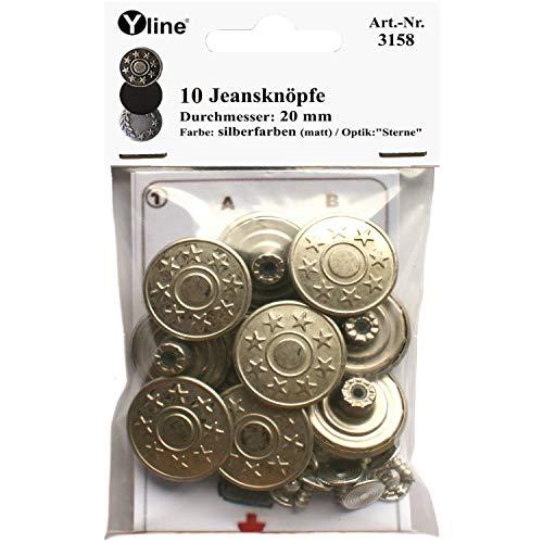 Yline 10 Jeans Knöpfe silberfarben (matt) 20 mm, Jeansknöpfe Metallknopf, Metall Knöpfe, nähfrei, im SB Pack, 3158