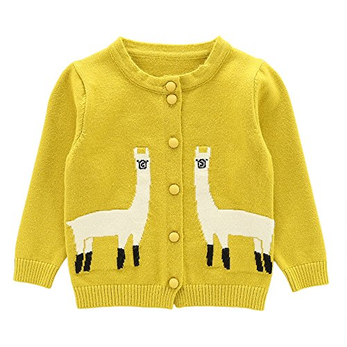 Moonnut Girls Cardigan Sweaters Cute Alpaca Pattern Long Sleeve Knitted Outwear (5T, Yellow)