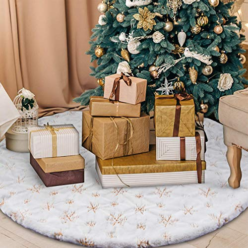 BTSD-home 48 Inches White Faux Fur Christmas Tree Skirt Christmas Tree Ornaments Tree Skirt with Embroidery Snowflake Pattern for Christmas Decorations Xmas Party Home Hoilday Decorations