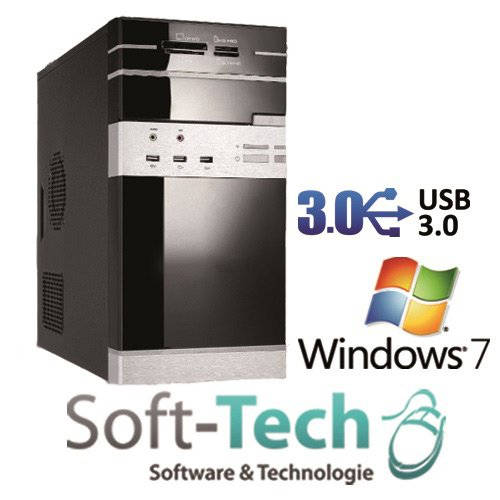 Leiser Komplett PC AMD A8-5600 - 4X 3.9GHz Turbomode - 8GB RAM - 1000GB HDD - HDMI/VGA/DVI - DVD-Brenner - USB 3.0 - Win7 Prof.
