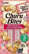 INABA Churu Bites - Cat Treats to feed from the hand - Soft chicken pockets with creamy filling - Tu...