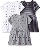 Amazon Essentials - Pack de 3 vestidos para niñas, Neutral Star Stripe, US NB (EU 56-62)
