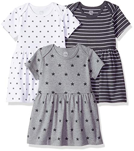 Amazon Essentials - Pack de 3 vestidos para niñas, Neutral Star Stripe,...