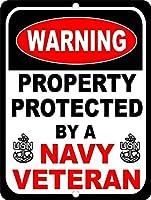 185グレートティンサイン米国海軍軍のベテランセキュリティで保護レトロアルミニウムメタルサイン壁の装飾12x8インチ