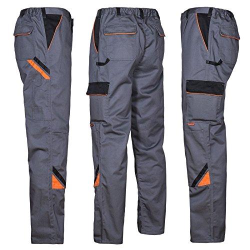 ARTMAS Professional Professionelle Arbeitshose für Männer, Schutz für Monteure, Hose für Gärtner, Mechaniker, leichte Schutztaschen; grau mit schwarzen und orangefarbenen Einsätzen; (54)