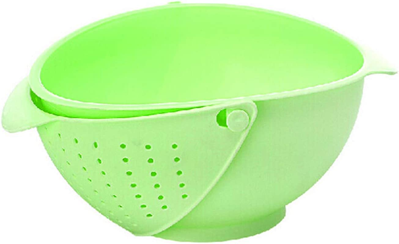 2 In 1 Plastic Washing Strainer Fruit And Vegetable Drain Basket Multi Functional Melon Fruit Washing Basket Reversible Strainer Colander Green