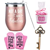 Gifts Set for Women | Cupcake Socks Gift + Rose Gold Wine Tumbler with Funny Saying Not a Day Over Fabulous, Gift Baskets for Birthday Friend, Mom, Grandma, Wife, Aunt, Daughter,Aunt