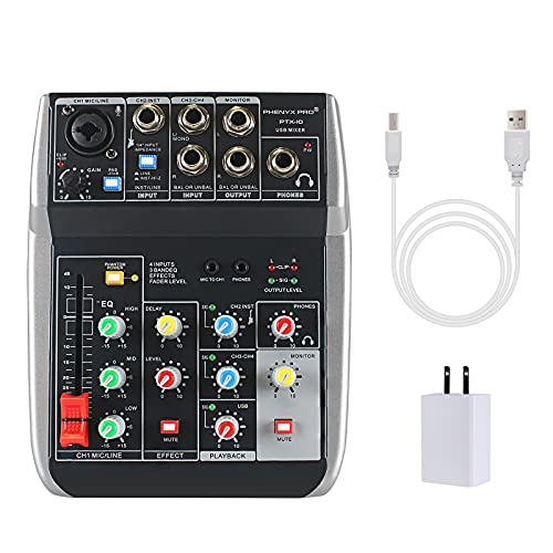 Phenyx Pro USB Audio Interface Mixer, 4-Channel, 3-Band EQ, Echo Effects, Audio Mixer with Interface to PC for Music Recording, Ideal for Live Streaming, Recording (PTX-10)
