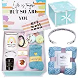 Get Well Soon Gifts for Women Feel Better Soon Stress Relief Gifts Unique Care Package Encouragement Gifts Box Basket with Blanket and Bracelet for Mom Female Friend Sister Relaxing Spa Gifts for Her