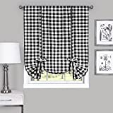 Achim Home Furnishings Tie Up Shade Buffalo Check Window Curtain, 42' x 63', Black & White