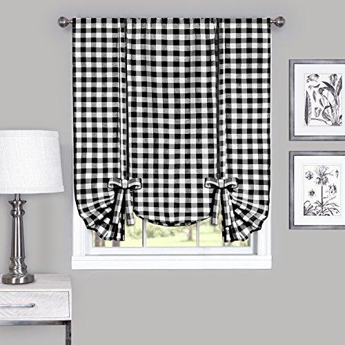 "Achim Home Furnishings Tie Up Shade Buffalo Check Window Curtain, 42"" x 63"", Black & White"