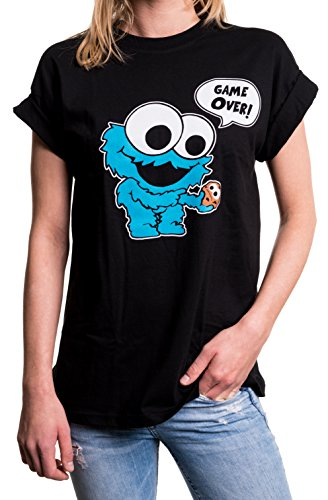 MAKAYA Top Monstruo Baby Manga Corta Talla Grande - Galletas - Camiseta Friki Divertida para Mujer Negro S