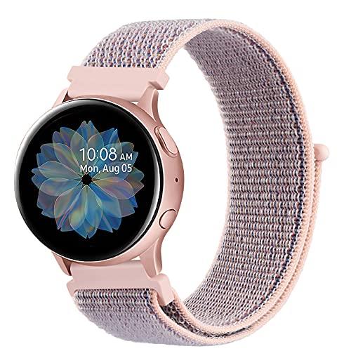 DEOU Correa para Samsung Galaxy Watch Active 2 40mm 44mm & Galaxy Watch Active & Galaxy Watch 3 41mm & Galaxy Watch 42mm,20mm Nylon Pulseras de Repuesto para Galaxy Watch Active 2(Rosa Sand)
