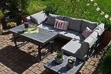 bomey Ecklounge Santorini mit HPL Terrassentisch (hell/Mittelgrau) I Gartenmöbel-Set bestehend aus elegantem Gartensofa & höhenverstellbarem Alu-Tisch I Moderne Gartengarnitur I Loungemöbel Garten