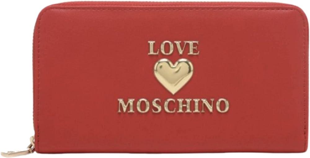 Love moschino porta carte di credito da donna portafoglio in pelle sintetica rossa