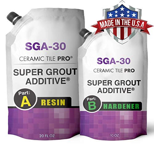 SGA 30 - Tile Grout Repair Kit with Waterproof Penetrating Sealer (Grout Sold Separately) - Kit Includes Applicator - Gloves - Mixing Cups and Sticks - Makes 90 oz Epoxy Grout