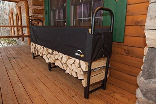 ShelterLogic 8' Adjustable Heavy Duty Outdoor Firewood Rack with Steel Frame Construction and  Water-Resistant Cover