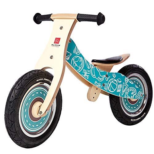 SJZX Bicicleta Sin Pedales Equilibrio Madera NiñOs Asiento Ajustable Bici Entrenamiento 2 A 6 AñOs 4159