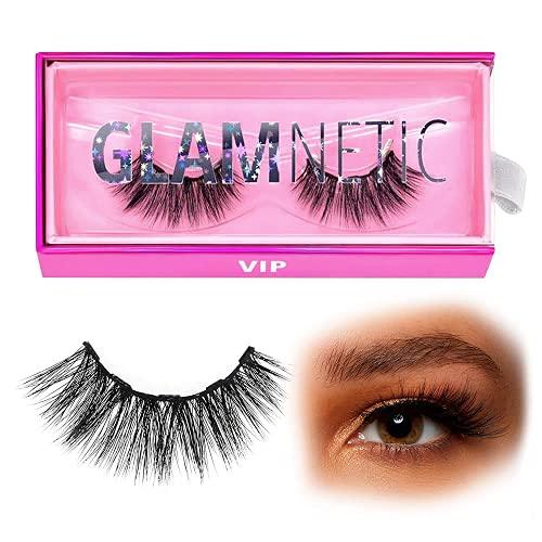 Glamnetic Lashes - VIP   Vegan Magnetic Eyelashes, Medium Cat Eye Faux Mink Lashes, Full Volume, Reusable up to 60 times - 1 Pair