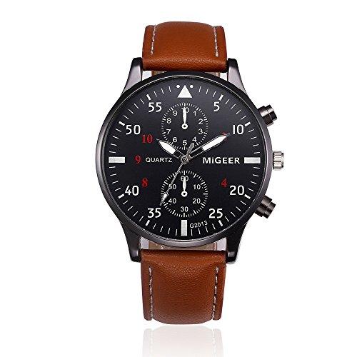 Yallylunn Retro Design Leder Band Analog Alloy Quarz-Armbanduhr MIGEER Belt Watch (1, Brown)