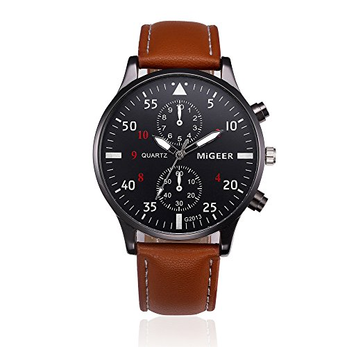 Armbanduhr für Heren/Skxinn Männer Schwarze Brown Mode Analog Quartz Kunstleder Armband,Retro Herrenuhren Ausverkauf(Brau)