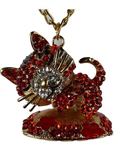 Halskette Kette Straße Stein goldfarben Katze beweglich rot auf Kissen 1075