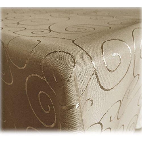 JEMIDI Tischdecke Ornamente Seidenglanz Edel Tisch Decke Tafeldecke 31 Größen und 7 Farben Cappuccino 90x90