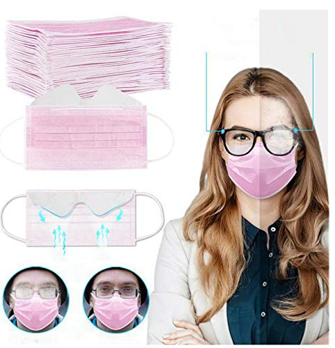 Gokeop Breathable 3-Ply Disposable Face_masks Bandanas Anti-fog for People Who Wear Glasses, Outdoors Face Protection, Prevent Glasses from Fogging (50Pcs, Pink)