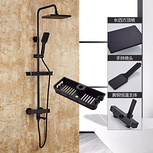 cuivre chauffe - eau douche ensemble noir fleurs ménages bain d'eau froide et d'eau chaude température constante pluie arrosage des toilettes,f