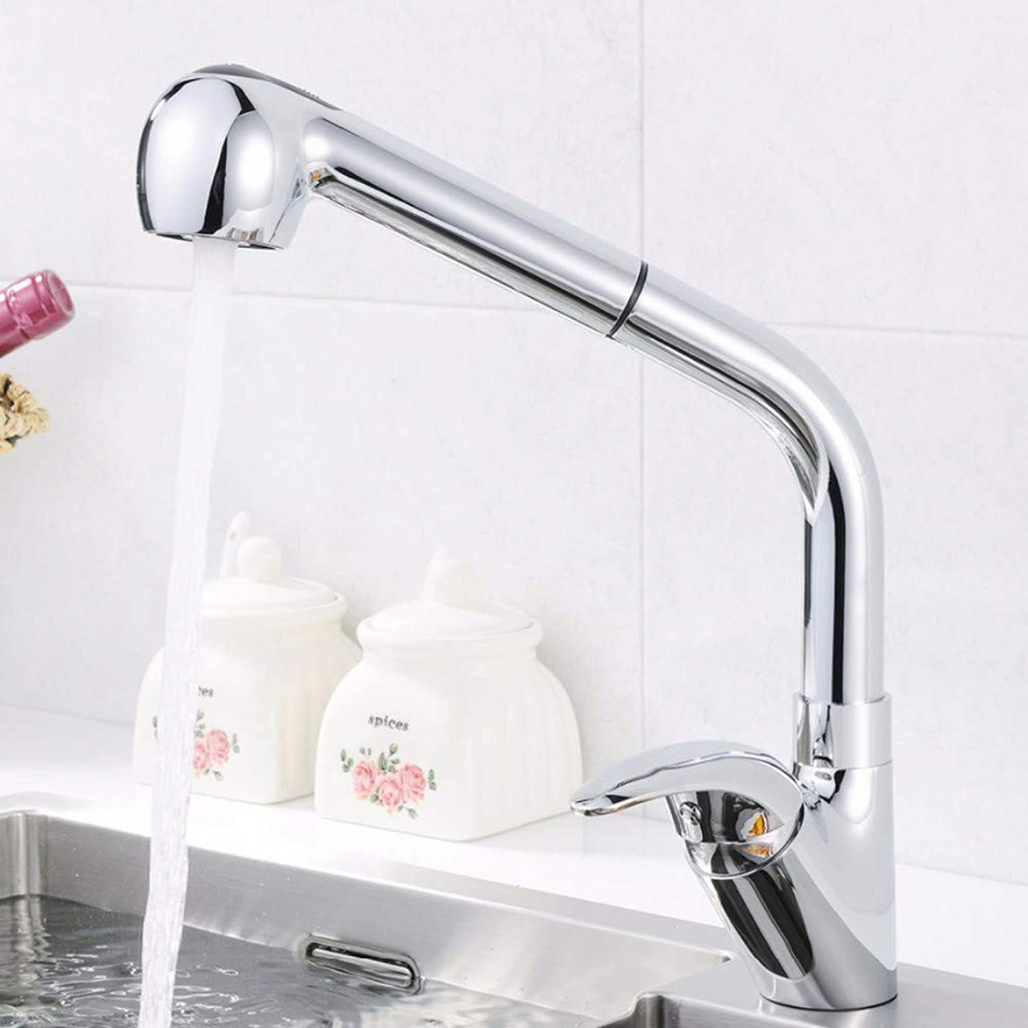Lddpl Kitchen Faucet Sink Mixer Tap Chrome Finish 2-Function Water Outlet Single Handle Pull Out Kitchen Tap