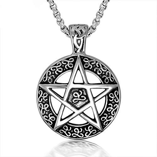 Burenqi Pendentif Vintage Pentagram Bijoux Religion Gothic Witch Necklace Supernatural Inspiré Devil's Trap