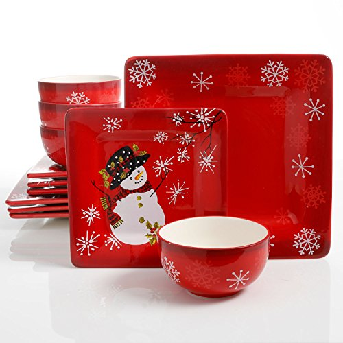 Snappy Snowman 12 Piece Dinnerware Set, Red (Christmas Theme)