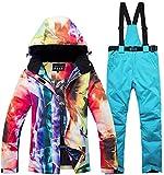 ASDGSDS Traje de esquí para Mujer Traje de Invierno a Prueba de Viento, Impermeable, cálido, con Pantalones de Snowboard, es un Gran Accesorio para el Snowboard de Invierno