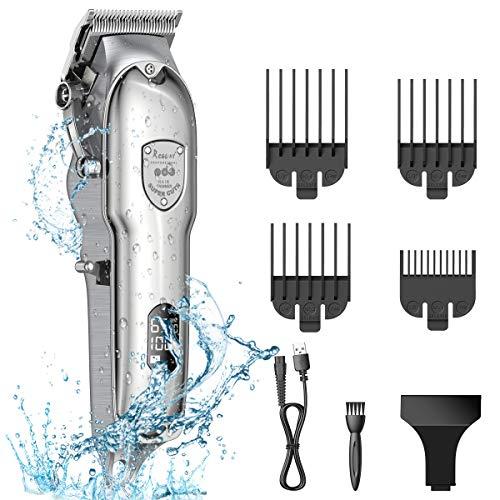 BOIROS Haarschneidemaschine Barttrimmer Mit Akku, Haarschneider Bart Trimmer Herren, Bartschneider Langhaarschneider für Herren Bodygroomer mit LED-Anzeige, Wiederaufladbarer, Wasserdicht, Stahl