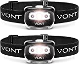 Vont 'Spark' LED Headlamp Flashlight (2 PACK) Super Bright Head Lamp Suitable for Running, Camping, Hiking, Climbing, Fishing, Hunting, Jogging, Headlight Includes Red Light,Headlamps for Adults, Kids
