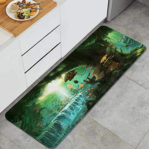 VAMIX Tappeto da Cucina,Foresta verde foresta e cascata con sfondo mistico della natura della foresta di fantasia degli elfi,antiscivolo passatoia da cucina antiscivolo zerbino tappetino per il bagno