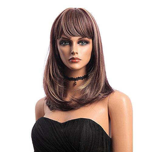 Bluelover 16 Pouces Moyen Long Naturel Droit Perruques Cheveux Synthétiques Kanekalon Full Bang