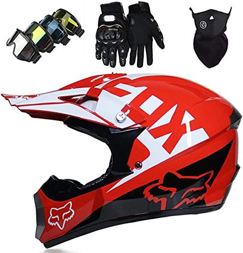 Casco de motocross, Pro Kids Adult DH Fullface Juego de casco cruzado de motocicleta (Máscara de guantes y gafas) para MTB ATV Scooter Downhill Offroad - DOT - con diseño de Fox - Rojo