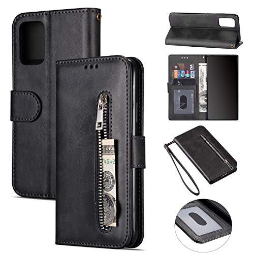 ZTOFERA Samsung S20 FE Hülle, Magnetisch Folio Flip Wallet Leder Standfunktion Reißverschluss schutzhülle mit Trageschlaufe, Brieftasche Hülle für Samsung Galaxy S20 FE 5G- Schwarz