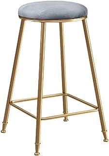 Sillas de Comedor for Cocina Pub, Patas de Metal Dorado Asiento de Terciopelo Carga máxima 150 kg Taburetes de Bar de Metal (Color : Gray, Size : Seat Height-75cm)